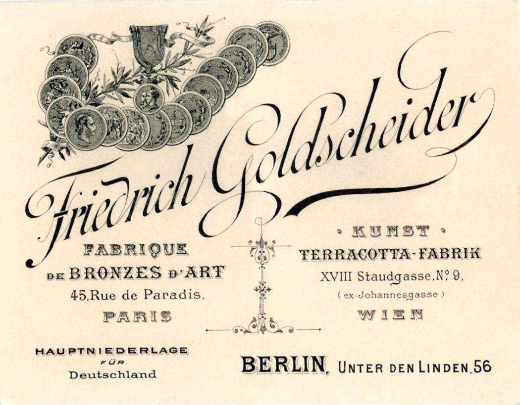 Friedrich Goldscheider Anzeige 1895