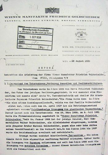 Walter Goldscheider Arisierung Vermoegensverkehrsstelle